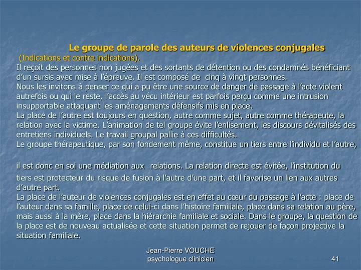 Le groupe de parole des auteurs de violences conjugales