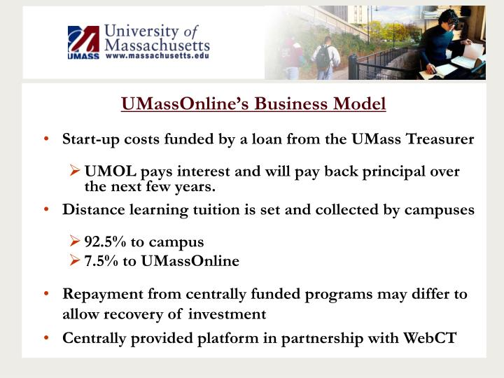 UMassOnline's Business Model