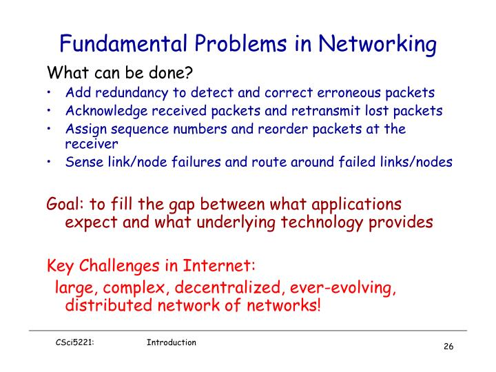 Fundamental Problems in Networking
