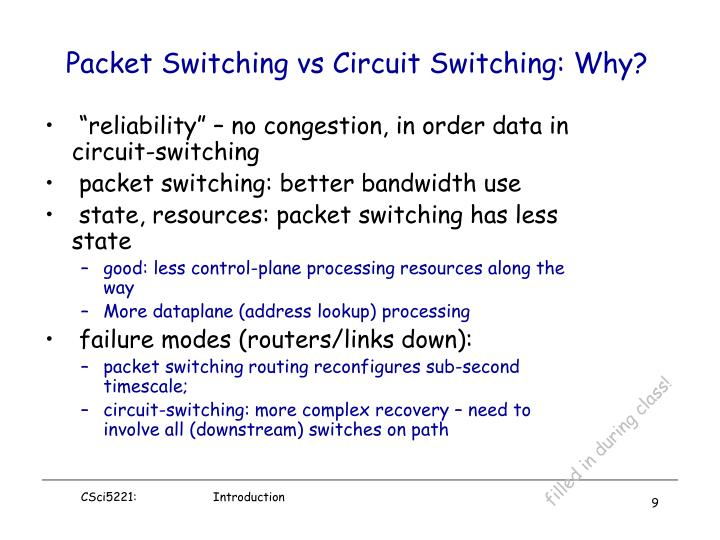 """""""reliability"""" – no congestion, in order data in circuit-switching"""