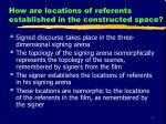 how are locations of referents established in the constructed space