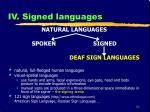 iv signed languages