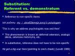 substitution referent vs demonstratum