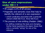 use of zero expressions under rd 1