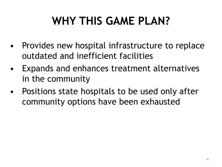 WHY THIS GAME PLAN?