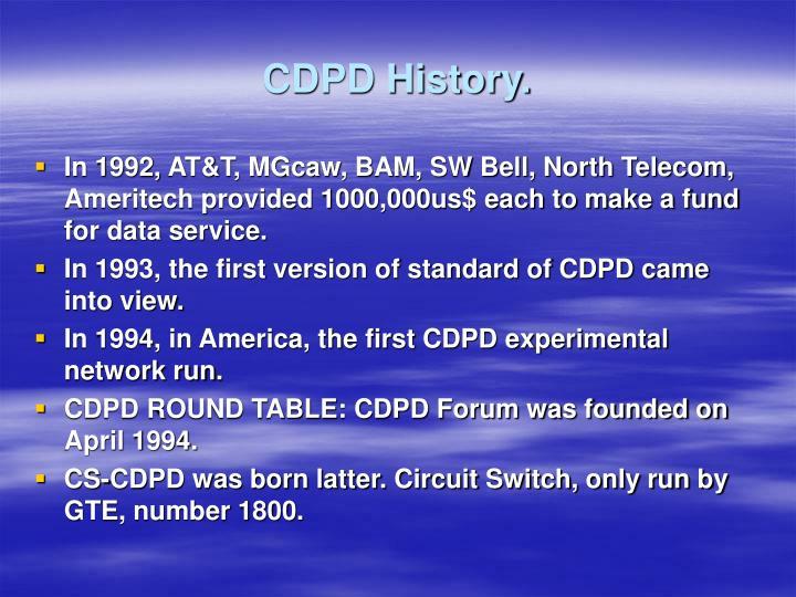 CDPD History.