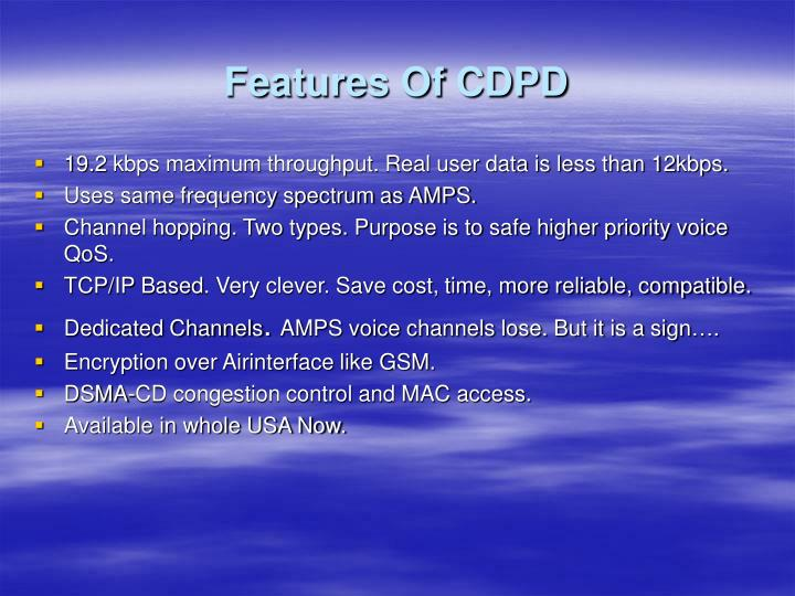 Features Of CDPD