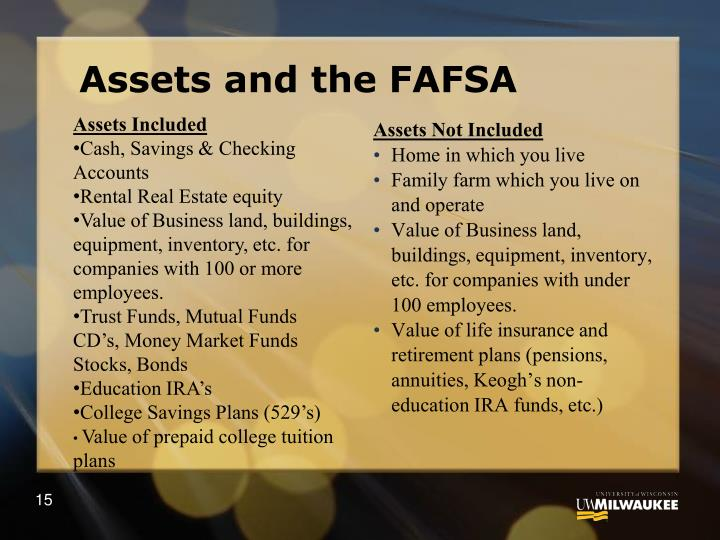 Assets and the FAFSA