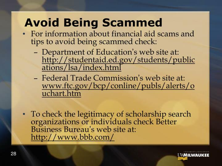 Avoid Being Scammed