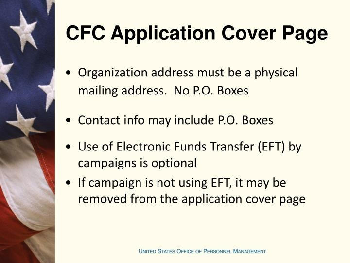 CFC Application Cover Page