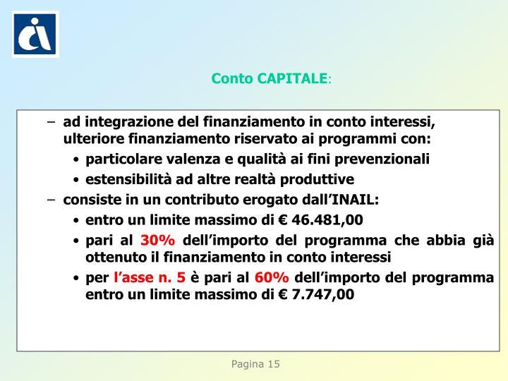 ad integrazione del finanziamento in conto interessi, ulteriore finanziamento riservato ai programmi con: