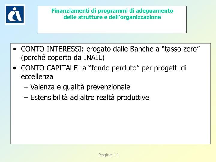 """CONTO INTERESSI: erogato dalle Banche a """"tasso zero"""" (perché coperto da INAIL)"""