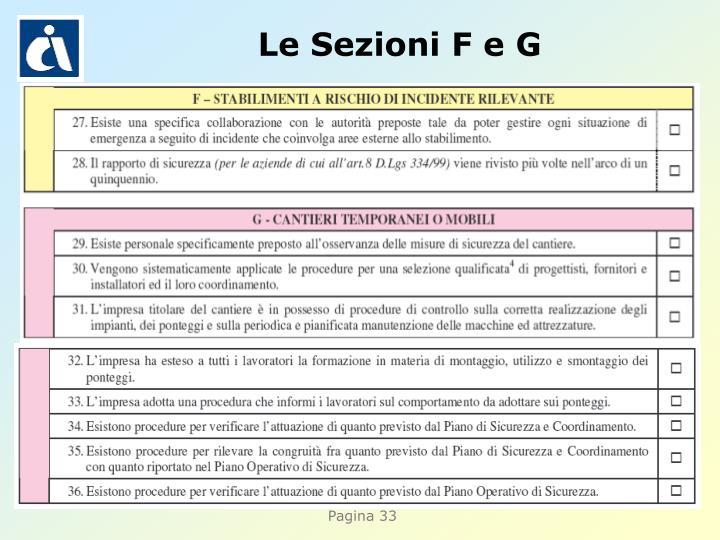 Le Sezioni F e G