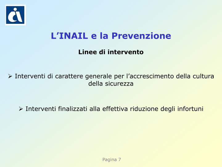 L'INAIL e la Prevenzione