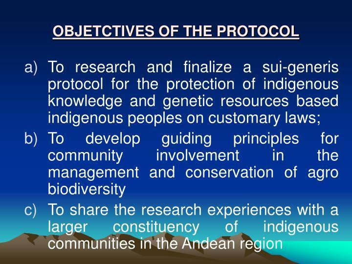 OBJETCTIVES OF THE PROTOCOL