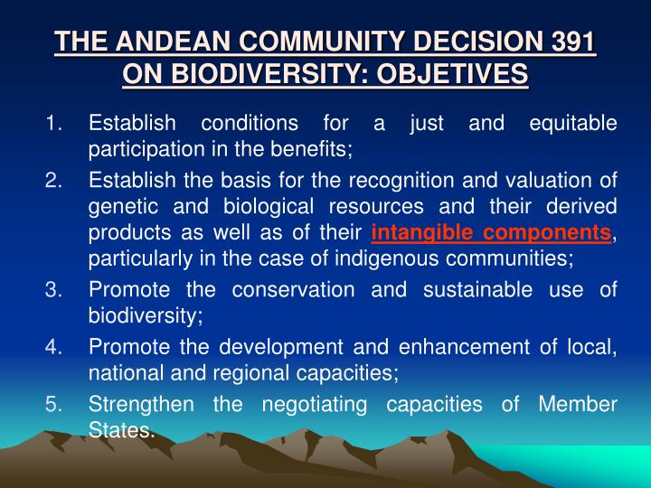 THE ANDEAN COMMUNITY DECISION 391  ON BIODIVERSITY: OBJETIVES