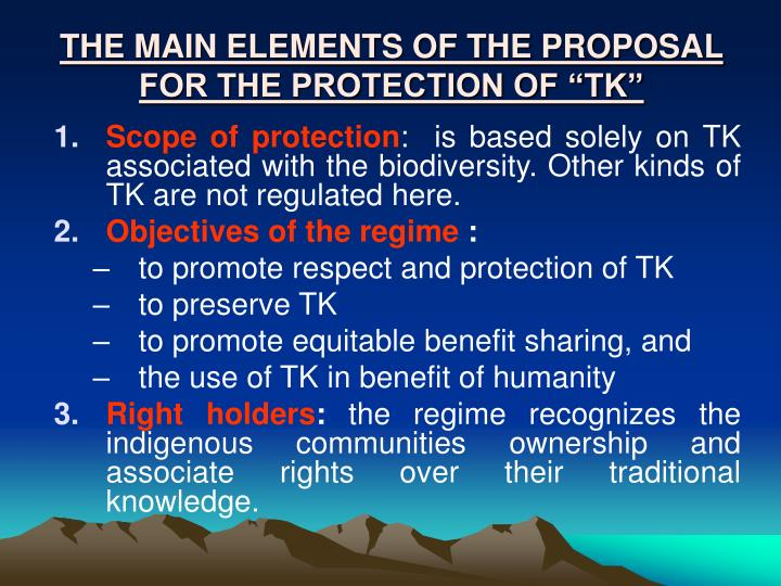 """THE MAIN ELEMENTS OF THE PROPOSAL FOR THE PROTECTION OF """"TK"""""""