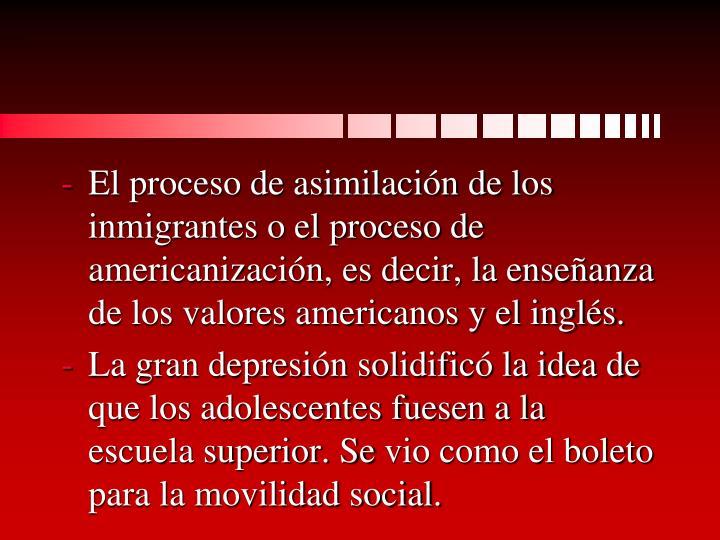 El proceso de asimilación de los inmigrantes o el proceso de americanización, es decir, la enseñanza de los valores americanos y el inglés.