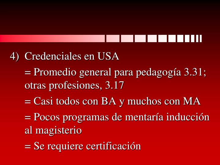 Credenciales en USA