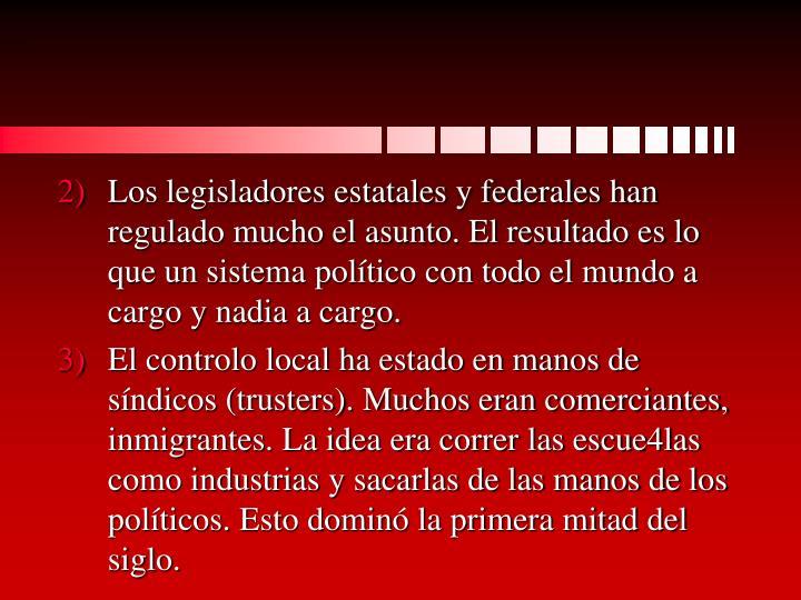 Los legisladores estatales y federales han regulado mucho el asunto. El resultado es lo que un sistema político con todo el mundo a cargo y nadia a cargo.