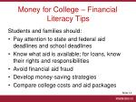 money for college financial literacy tips