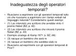 inadeguatezza degli operatori temporali