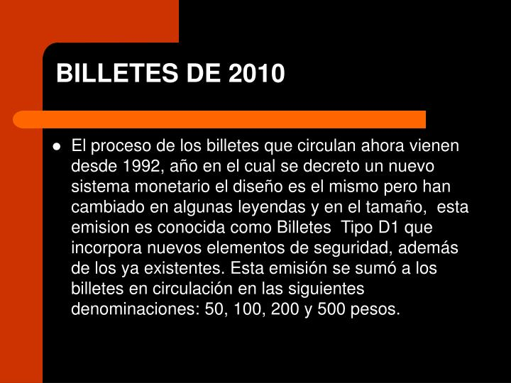 Billetes de 2010