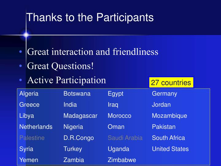 Thanks to the Participants