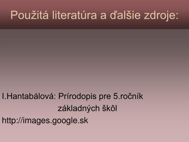 Použitá literatúra a ďalšie zdroje: