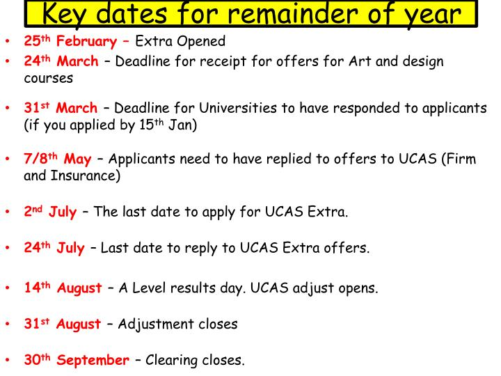 Key dates for remainder of year