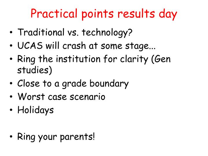 Practical points results day