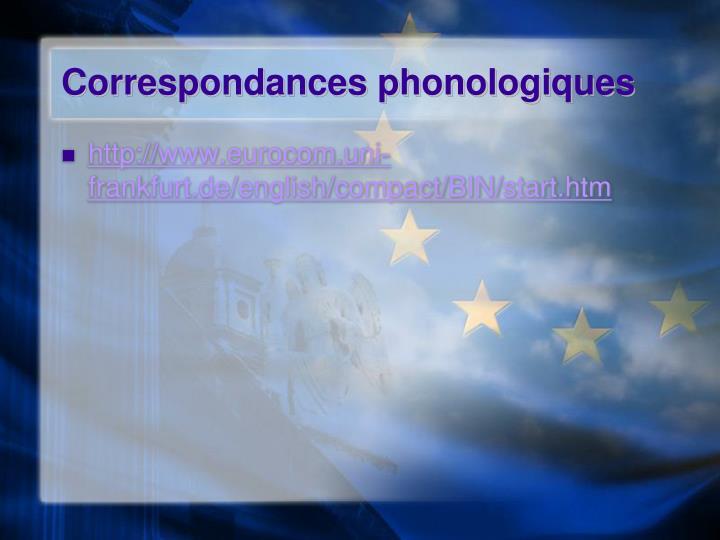 Correspondances phonologiques