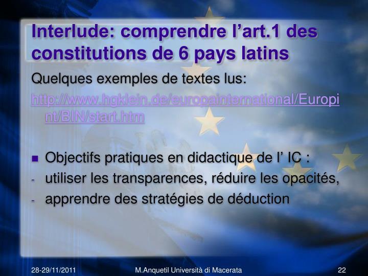 Interlude: comprendre l'art.1 des constitutions de 6 pays latins
