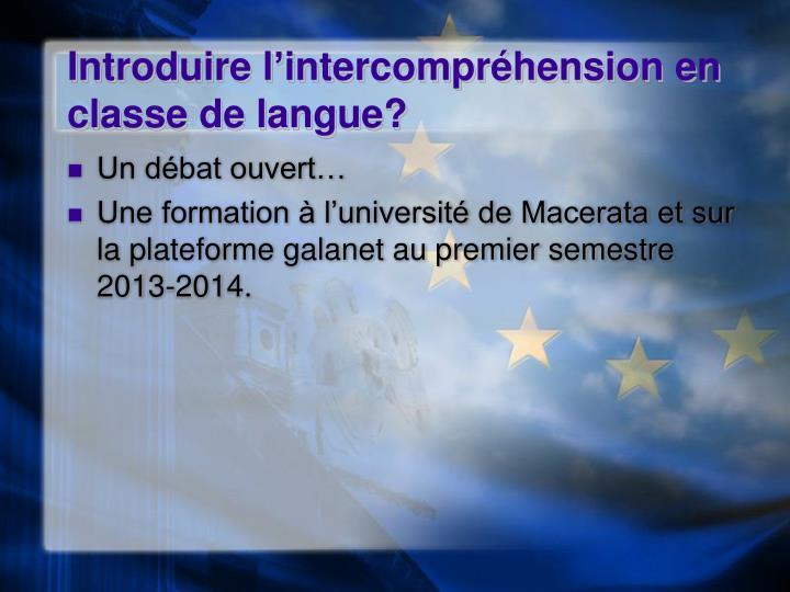 Introduire l'intercompréhension en classe de langue?
