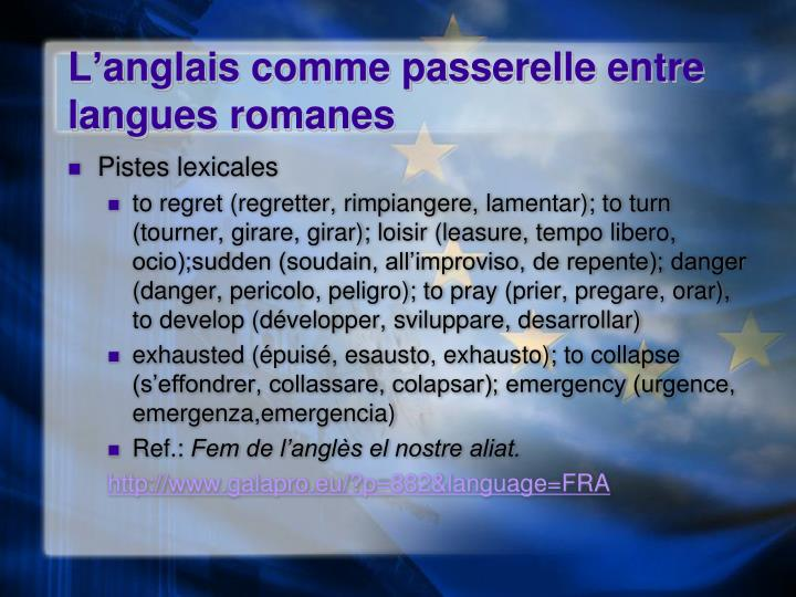 L'anglais comme passerelle entre langues romanes