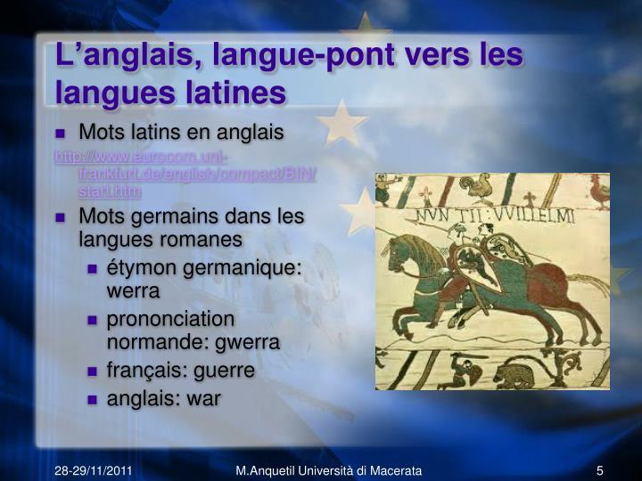 L'anglais, langue-pont vers les langues latines