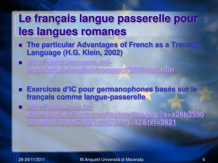 Le français langue passerelle pour les langues romanes
