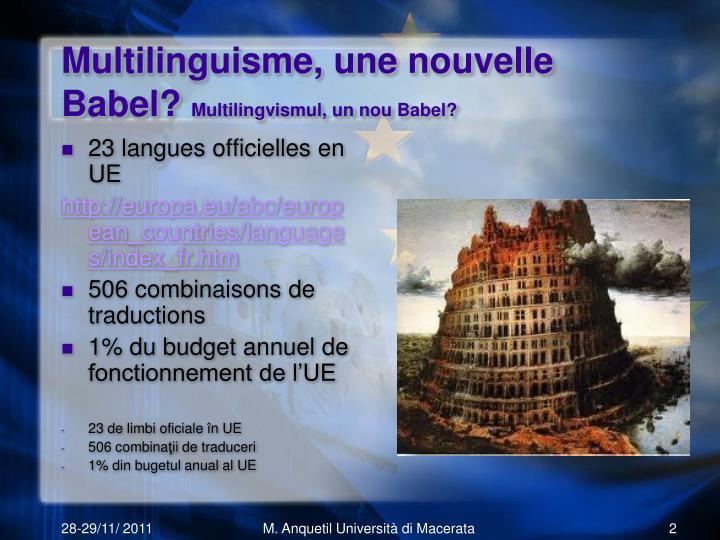 Multilinguisme une nouvelle babel multilingvismul un nou babel
