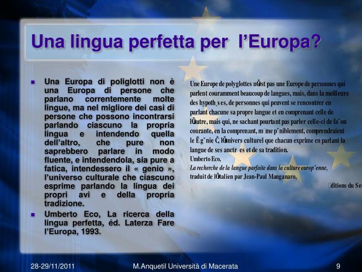 Una lingua perfetta per  l'Europa?