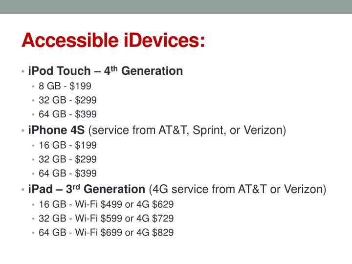 Accessible idevices