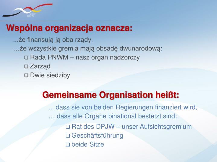 Wspólna organizacja oznacza: