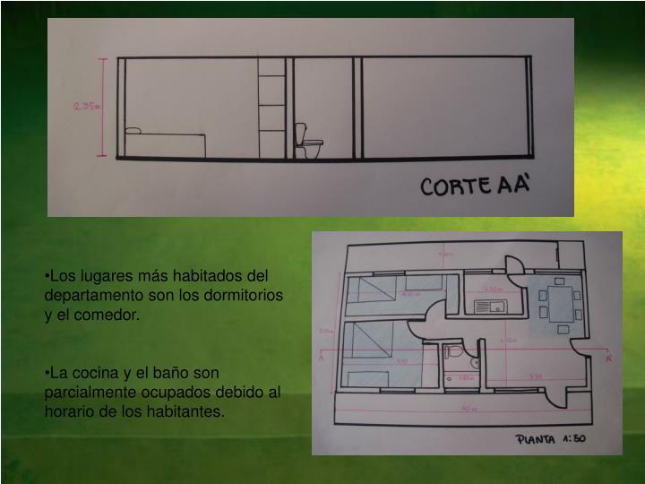 Los lugares más habitados del departamento son los dormitorios y el comedor.