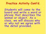 practice activity cont d