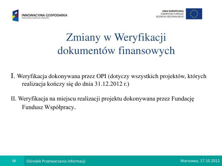 Zmiany w Weryfikacji dokumentów finansowych