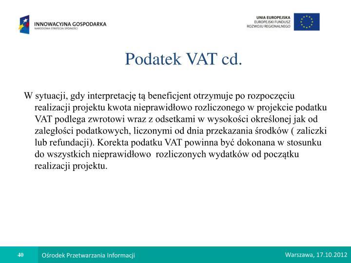 Podatek VAT cd.