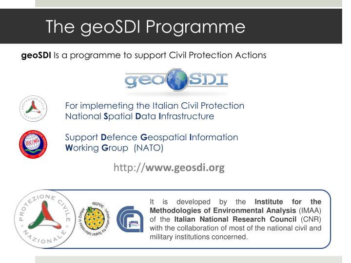 The geosdi programme