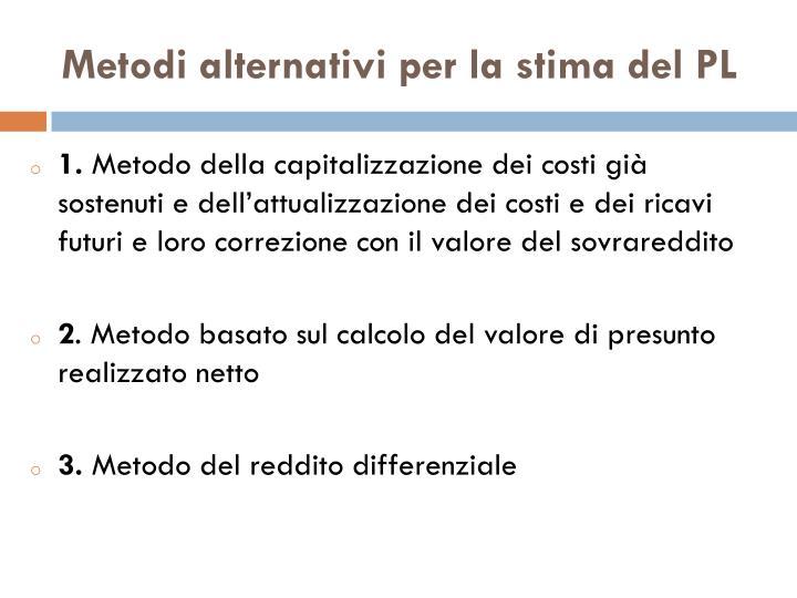 Metodi alternativi per la stima del PL