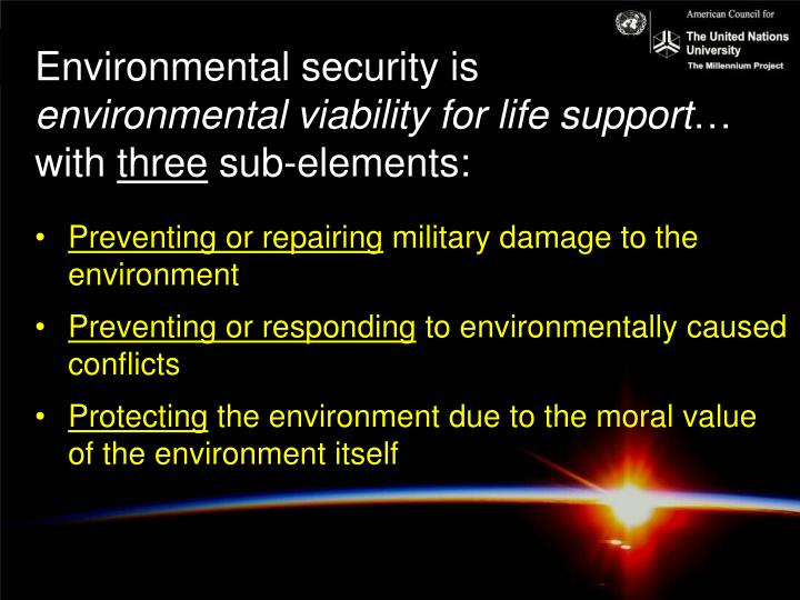 Environmental security is
