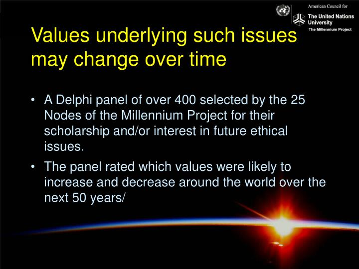 Values underlying such issues may change over time