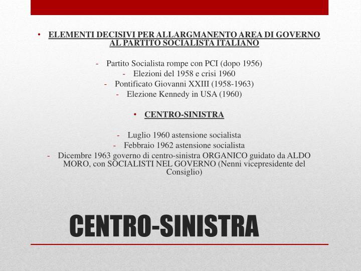 ELEMENTI DECISIVI PER ALLARGMANENTO AREA DI GOVERNO AL PARTITO SOCIALISTA ITALIANO